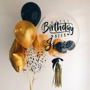 Black and Gold Personalised Balloon Bundle Singapore