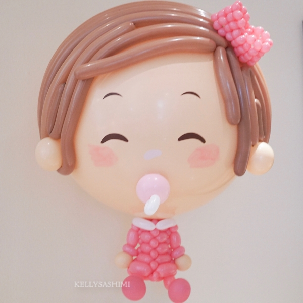Girl Big Floating Balloon Sculpture