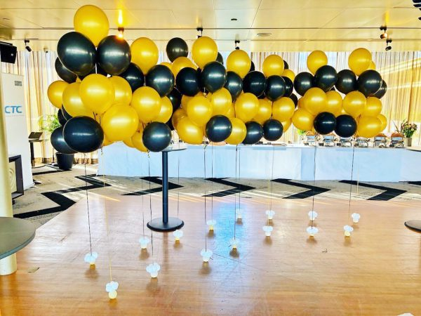Gold and Black helium balloon bundles