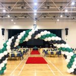 Green Black and White Balloon Arch