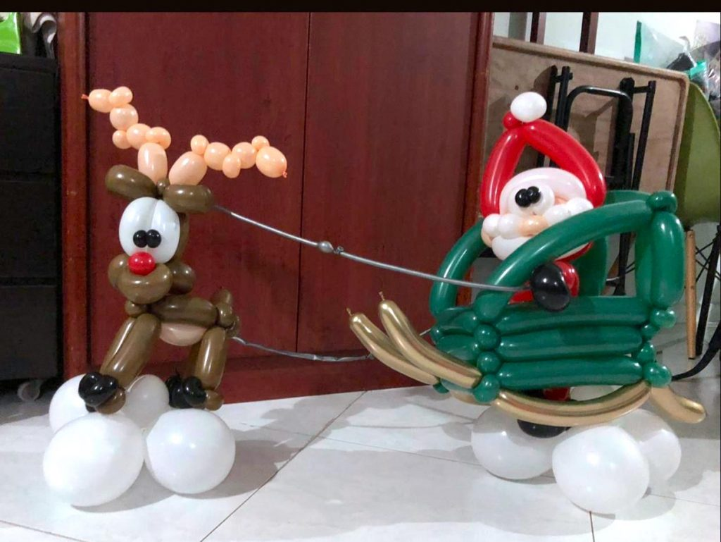 Reindeer with Sleigh Sculpture
