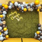 Green Plant Wall backdrop Rental with Organic Balloon Decorations