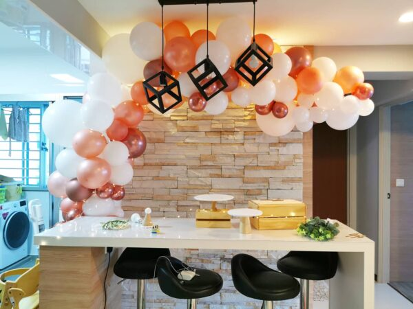 Simple Organic Balloon Garland for Birthday Party