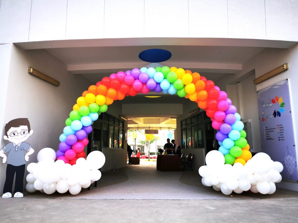Rainbow and Clouds Balloon Arch singapore