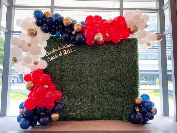 Grass Wall Backdrop with Organic Balloon Garland Decoration